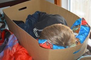 Sleeping kiddo in a box