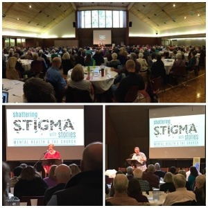 Top: Our event hall filled to capacity. Left: Our pastor's wife, Debbie Sander, sharing her story of living with bipolar disorder. Right: Guest, Pastor Jerry Beres sharing his story of living with anxiety and ADD.