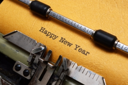 Happy new year text on typewriter